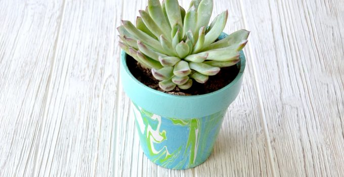 Marbled Flowerpots with New FolkArt Marbling