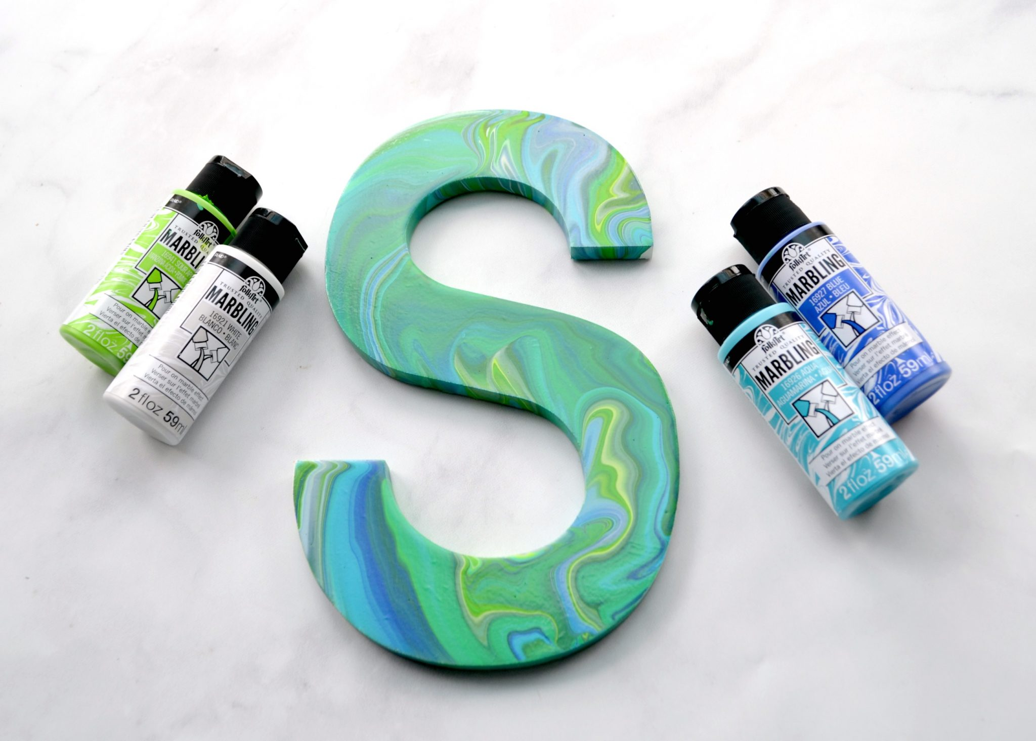 Marbled Monogram with FolkArt Marbling Paints