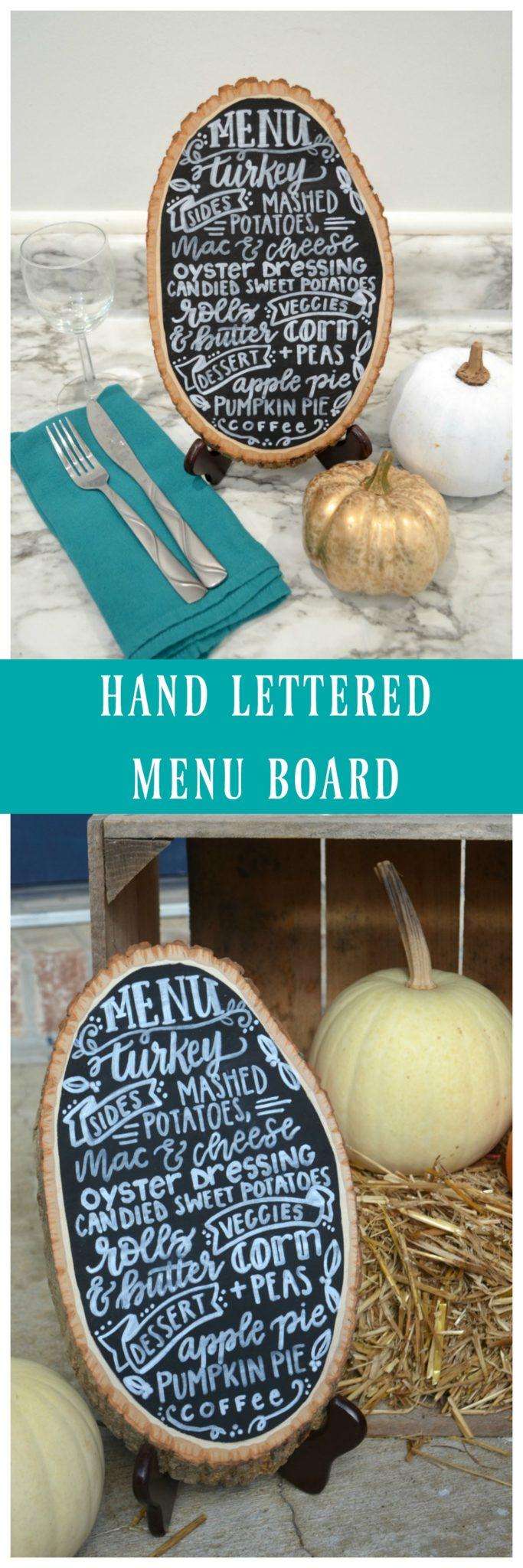 Hand Lettered Menu Board
