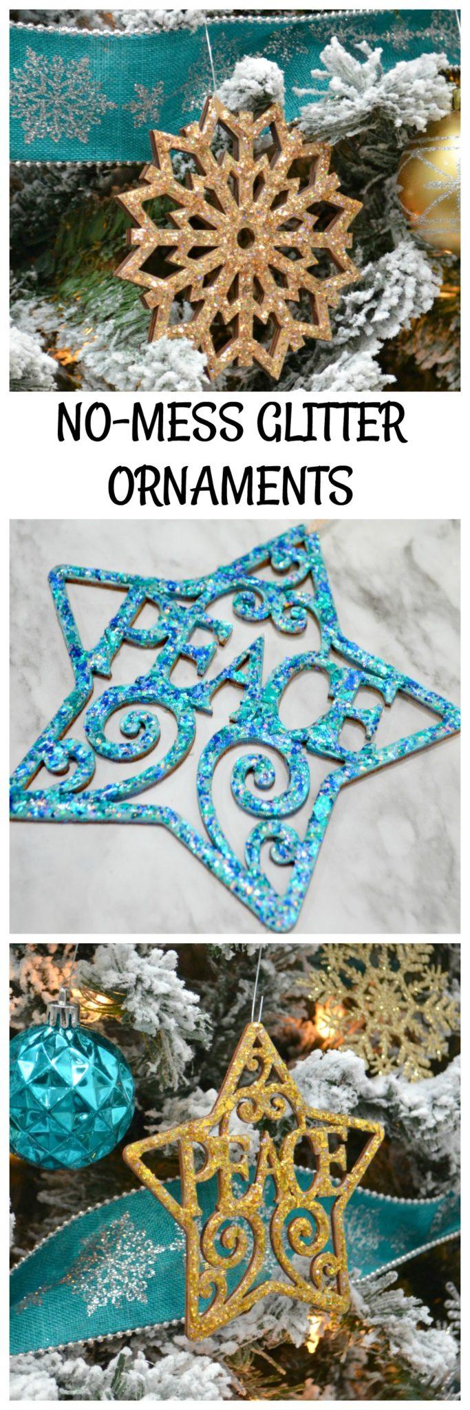 No-Mess Glitter Ornaments