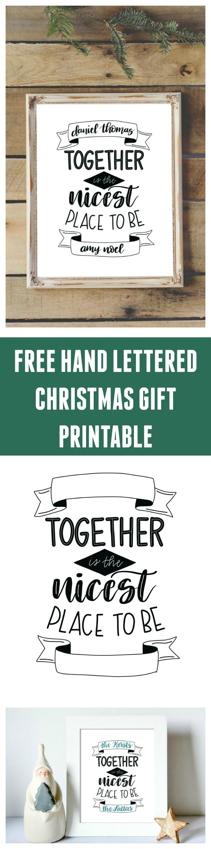 Free Hand Lettered Printable Christmas Gift