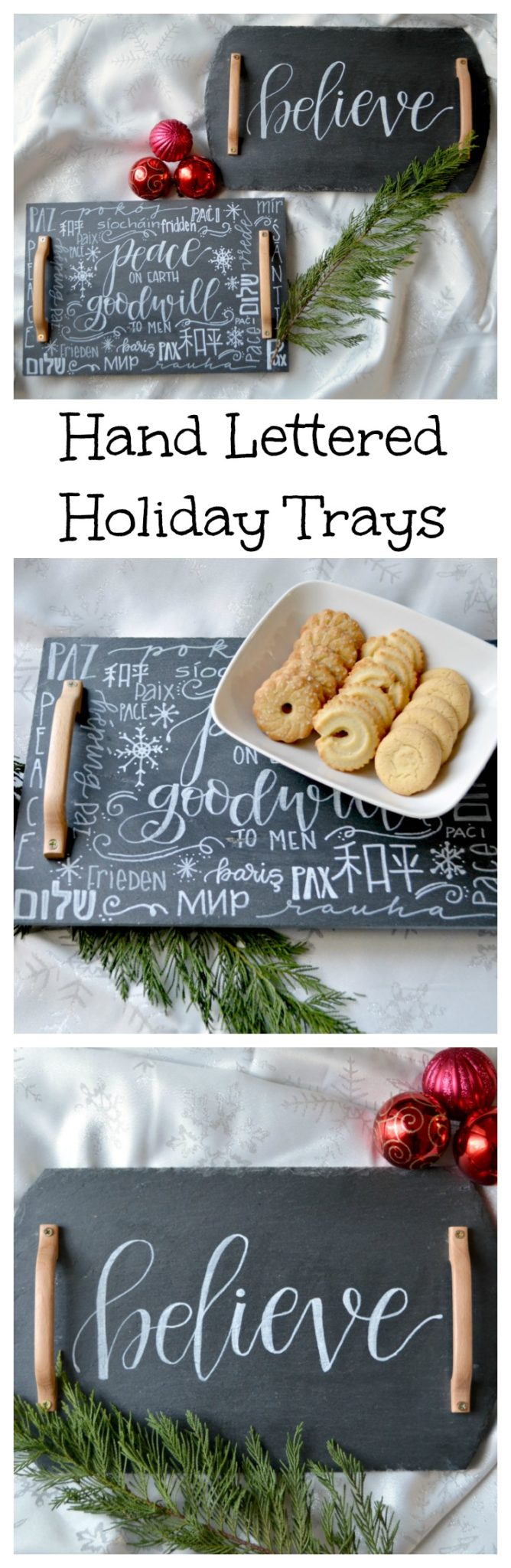 Hand Lettered Holiday Trays